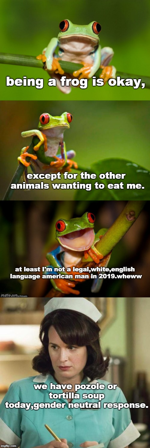 tho' the frog fears being eaten he thinks modern western man may have it worse.ya can't even get a decent non - mexican soup. | being a frog is okay, we have pozole or tortilla soup today,gender neutral response. except for the other animals wanting to eat me. at leas | image tagged in frog puns,jerry was,memes,political correctness,bullsht culture | made w/ Imgflip meme maker