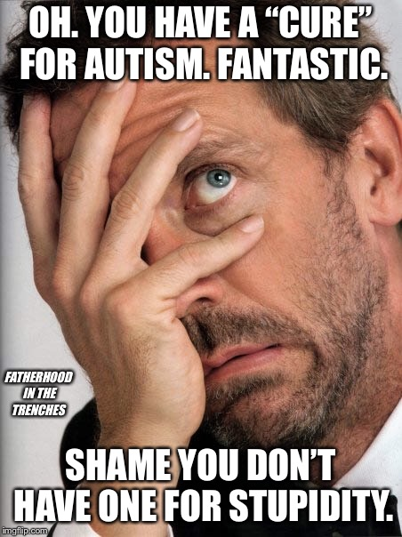 "There Is No Cure | OH. YOU HAVE A ""CURE"" FOR AUTISM. FANTASTIC. SHAME YOU DON'T HAVE ONE FOR STUPIDITY. FATHERHOOD IN THE TRENCHES 