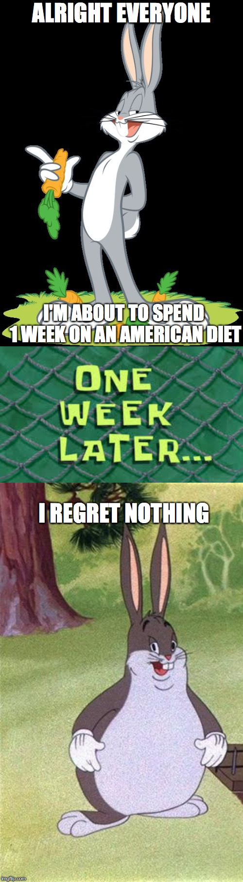 ALRIGHT EVERYONE; I'M ABOUT TO SPEND 1 WEEK ON AN AMERICAN DIET; I REGRET NOTHING | image tagged in bugs bunny,big chungus | made w/ Imgflip meme maker