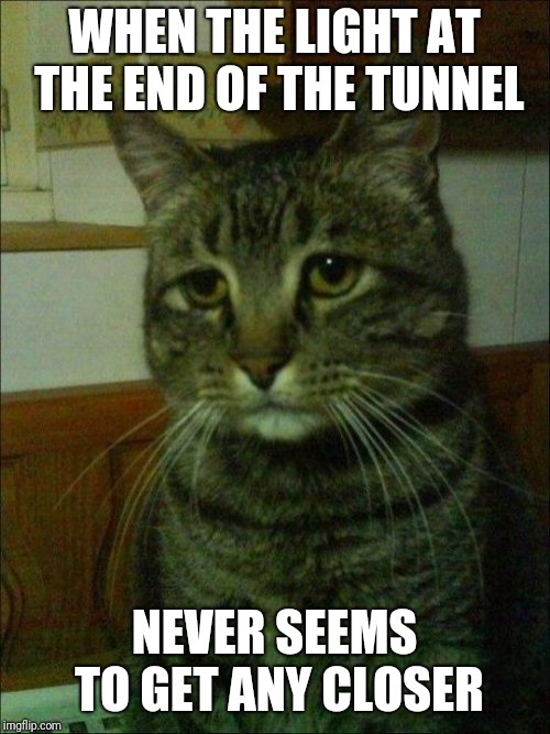 Happens far too often |  WHEN THE LIGHT AT THE END OF THE TUNNEL; NEVER SEEMS TO GET ANY CLOSER | image tagged in memes,depressed cat,light at the end of tunnel | made w/ Imgflip meme maker
