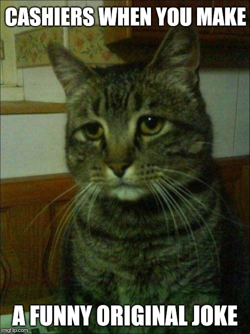 Depressed Cat | CASHIERS WHEN YOU MAKE A FUNNY ORIGINAL JOKE | image tagged in memes,depressed cat,retail | made w/ Imgflip meme maker
