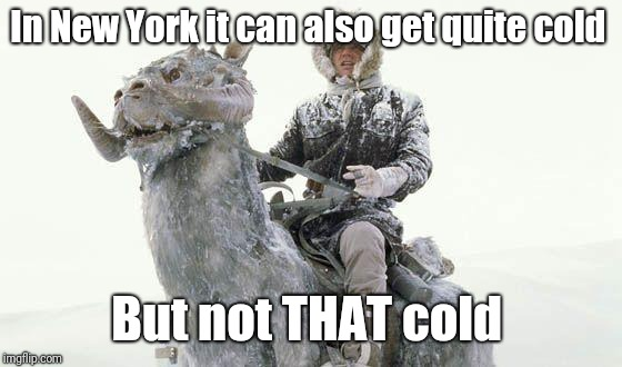 Star Wars Cold | In New York it can also get quite cold But not THAT cold | image tagged in star wars cold | made w/ Imgflip meme maker