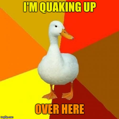 Tech Impaired Duck Meme | I'M QUAKING UP OVER HERE | image tagged in memes,tech impaired duck | made w/ Imgflip meme maker
