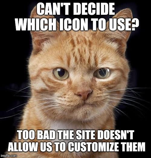 CAN'T DECIDE WHICH ICON TO USE? TOO BAD THE SITE DOESN'T ALLOW US TO CUSTOMIZE THEM | made w/ Imgflip meme maker