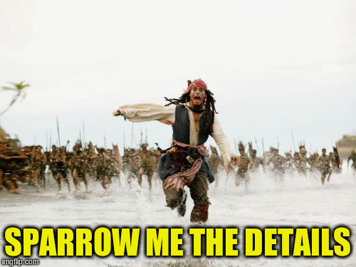Jack Sparrow Being Chased Meme | SPARROW ME THE DETAILS | image tagged in memes,jack sparrow being chased | made w/ Imgflip meme maker