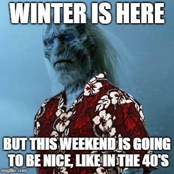 White Walker Hawaiian Shirt | WINTER IS HERE BUT THIS WEEKEND IS GOING TO BE NICE, LIKE IN THE 40'S | image tagged in white walker hawaiian shirt | made w/ Imgflip meme maker