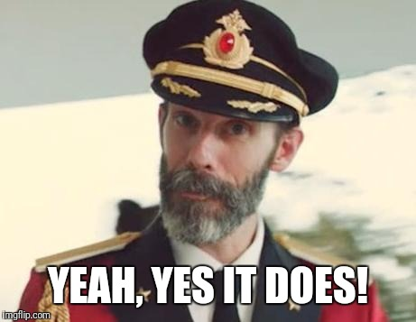 Captain Obvious | YEAH, YES IT DOES! | image tagged in captain obvious | made w/ Imgflip meme maker