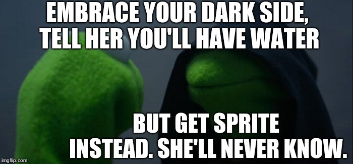 Evil Kermit | EMBRACE YOUR DARK SIDE, TELL HER YOU'LL HAVE WATER BUT GET SPRITE INSTEAD. SHE'LL NEVER KNOW. | image tagged in memes,evil kermit | made w/ Imgflip meme maker