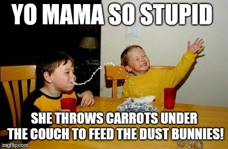 Yo mama so | YO MAMA SO STUPID SHE THROWS CARROTS UNDER THE COUCH TO FEED THE DUST BUNNIES! | image tagged in yo mama so | made w/ Imgflip meme maker