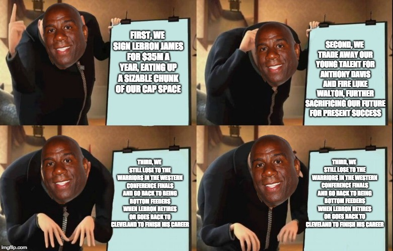 Magic's Master Plan | FIRST, WE SIGN LEBRON JAMES FOR $35M A YEAR, EATING UP A SIZABLE CHUNK OF OUR CAP SPACE SECOND, WE TRADE AWAY OUR YOUNG TALENT FOR ANTHONY D | image tagged in despicable me diabolical plan gru template,lakers,basketball,basketball meme,lebron james,golden state warriors | made w/ Imgflip meme maker