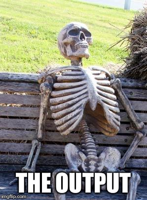 Waiting Skeleton Meme | THE OUTPUT | image tagged in memes,waiting skeleton | made w/ Imgflip meme maker