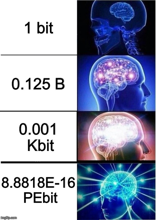 Expanding Brain | 1 bit 0.125 B 0.001 Kbit 8.8818E-16 PEbit | image tagged in memes,expanding brain,data | made w/ Imgflip meme maker