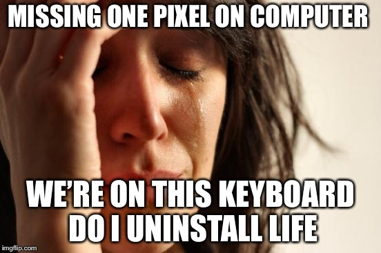 First World Problems | MISSING ONE PIXEL ON COMPUTER WE'RE ON THIS KEYBOARD DO I UNINSTALL LIFE | image tagged in memes,first world problems | made w/ Imgflip meme maker