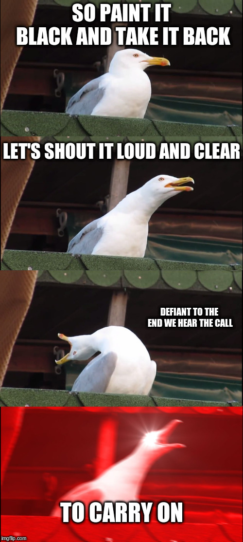 EmoSeagull | SO PAINT IT BLACK AND TAKE IT BACK LET'S SHOUT IT LOUD AND CLEAR DEFIANT TO THE END WE HEAR THE CALL TO CARRY ON | image tagged in memes,inhaling seagull,my chemical romance,welcome to the black parade | made w/ Imgflip meme maker