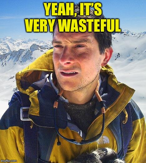 Bear Grylls Meme | YEAH, IT'S VERY WASTEFUL | image tagged in memes,bear grylls | made w/ Imgflip meme maker