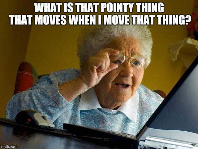 Grandma Finds The Internet Meme | WHAT IS THAT POINTY THING THAT MOVES WHEN I MOVE THAT THING? | image tagged in memes,grandma finds the internet | made w/ Imgflip meme maker