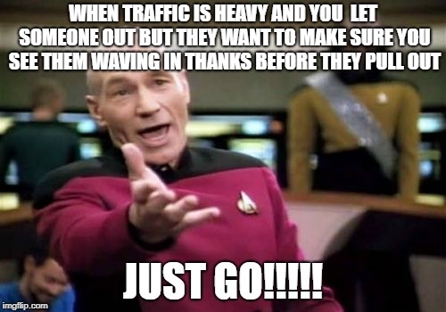 Picard Wtf | WHEN TRAFFIC IS HEAVY AND YOU  LET SOMEONE OUT BUT THEY WANT TO MAKE SURE YOU SEE THEM WAVING IN THANKS BEFORE THEY PULL OUT JUST GO!!!!! | image tagged in memes,picard wtf,traffic,gratitude | made w/ Imgflip meme maker