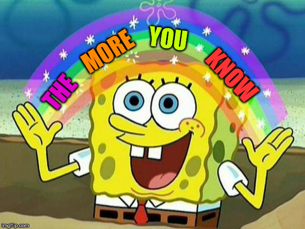 spongebob rainbow | MORE KNOW YOU THE | image tagged in spongebob rainbow | made w/ Imgflip meme maker