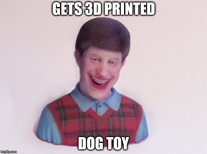 Bad Luck Brian | GETS 3D PRINTED DOG TOY | image tagged in bad luck brian,claybourne,dog,lol,hilarious,3d printing | made w/ Imgflip meme maker