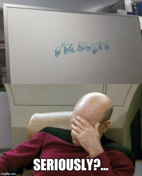 I'm so out of ideas lately that it has actually come down to this |  SERIOUSLY?... | image tagged in memes,captain picard facepalm,slow day at work,bad pun,lame,white board | made w/ Imgflip meme maker