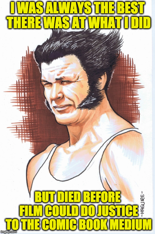 I WAS ALWAYS THE BEST THERE WAS AT WHAT I DID BUT DIED BEFORE FILM COULD DO JUSTICE TO THE COMIC BOOK MEDIUM | image tagged in wolverine,charles bronson,marvel comics,hollywood,film,comics | made w/ Imgflip meme maker