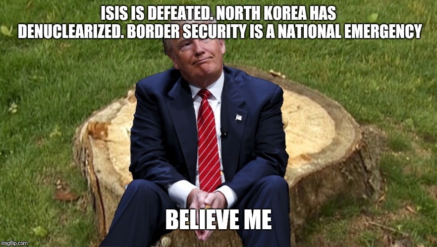 Trump on a stump | ISIS IS DEFEATED. NORTH KOREA HAS DENUCLEARIZED. BORDER SECURITY IS A NATIONAL EMERGENCY BELIEVE ME | image tagged in trump on a stump | made w/ Imgflip meme maker