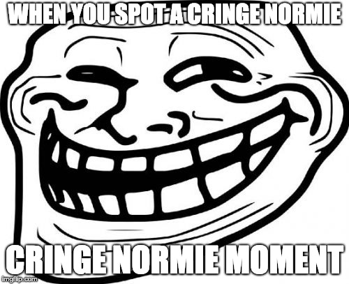 hecking cringe norime ownd  | WHEN YOU SPOT A CRINGE NORMIE CRINGE NORMIE MOMENT | image tagged in memes,troll face | made w/ Imgflip meme maker