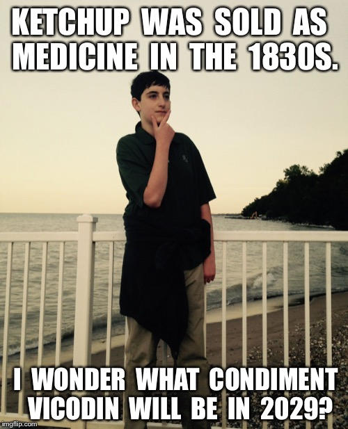 I wonder.... | KETCHUP  WAS  SOLD  AS  MEDICINE  IN  THE  1830S. I  WONDER  WHAT  CONDIMENT  VICODIN  WILL  BE  IN  2029? | image tagged in i wonder | made w/ Imgflip meme maker