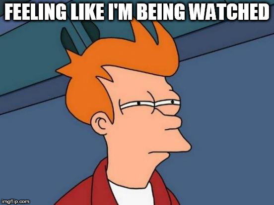 FEELING LIKE I'M BEING WATCHED | image tagged in memes,futurama fry | made w/ Imgflip meme maker