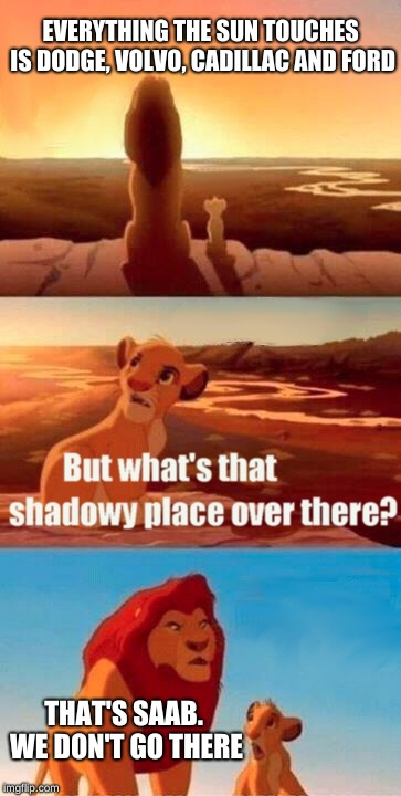 Simba Shadowy Place Meme |  EVERYTHING THE SUN TOUCHES IS DODGE, VOLVO, CADILLAC AND FORD; THAT'S SAAB. WE DON'T GO THERE | image tagged in memes,simba shadowy place | made w/ Imgflip meme maker