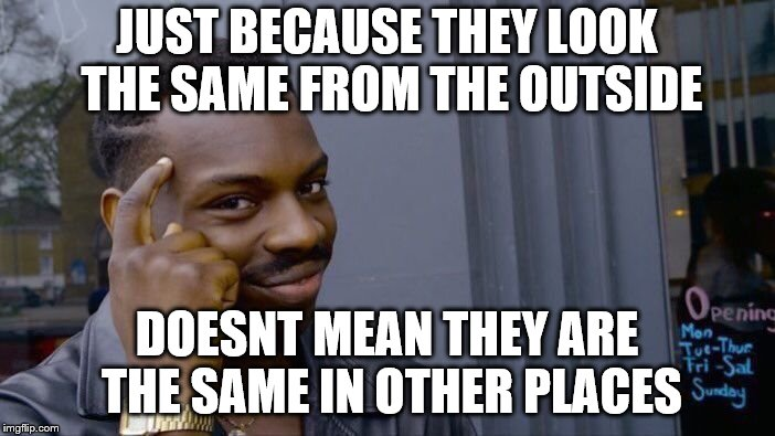 Roll Safe Think About It Meme | JUST BECAUSE THEY LOOK THE SAME FROM THE OUTSIDE DOESNT MEAN THEY ARE THE SAME IN OTHER PLACES | image tagged in memes,roll safe think about it | made w/ Imgflip meme maker