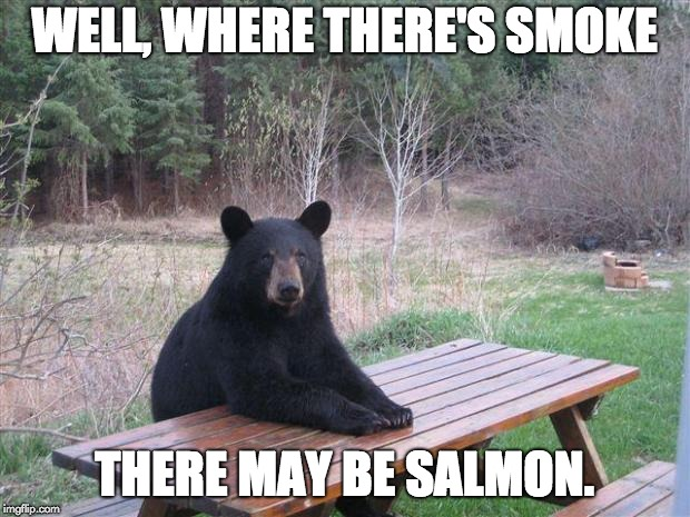 Bear of bad news | WELL, WHERE THERE'S SMOKE THERE MAY BE SALMON. | image tagged in bear of bad news | made w/ Imgflip meme maker