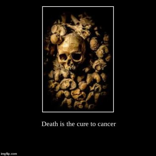 Death is the cure to cancer | | image tagged in funny,demotivationals,death,cancer | made w/ Imgflip demotivational maker