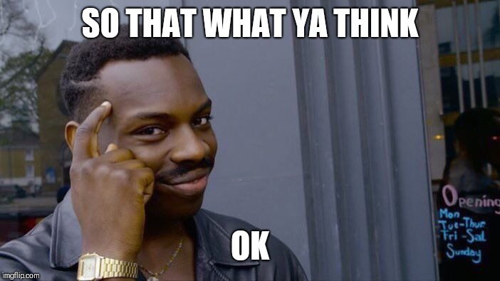 SO THAT WHAT YA THINK OK | image tagged in memes,roll safe think about it | made w/ Imgflip meme maker