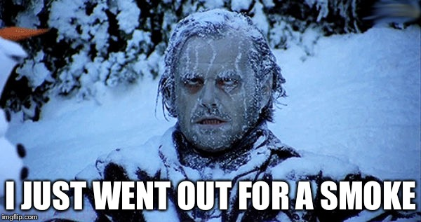 Freezing cold | I JUST WENT OUT FOR A SMOKE | image tagged in freezing cold | made w/ Imgflip meme maker
