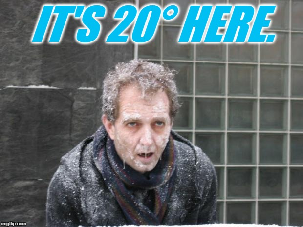 ice, freeze, cold | IT'S 20° HERE. | image tagged in ice freeze cold | made w/ Imgflip meme maker