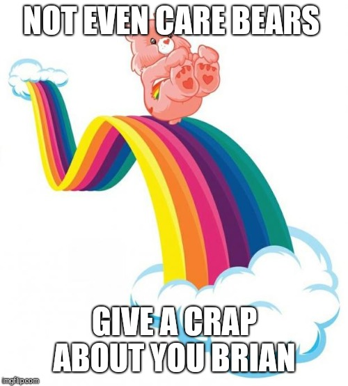 Care bear slide | NOT EVEN CARE BEARS GIVE A CRAP ABOUT YOU BRIAN | image tagged in care bear slide | made w/ Imgflip meme maker