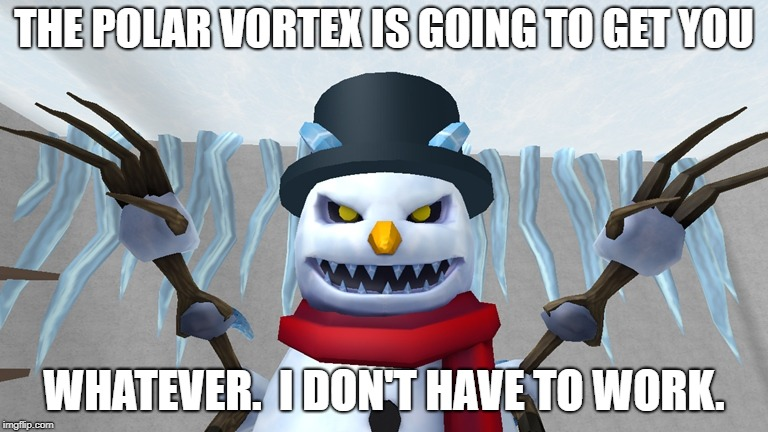 Polar Vortex will get you! | THE POLAR VORTEX IS GOING TO GET YOU WHATEVER.  I DON'T HAVE TO WORK. | image tagged in polar vortex,evil snowman,day off,snow day | made w/ Imgflip meme maker