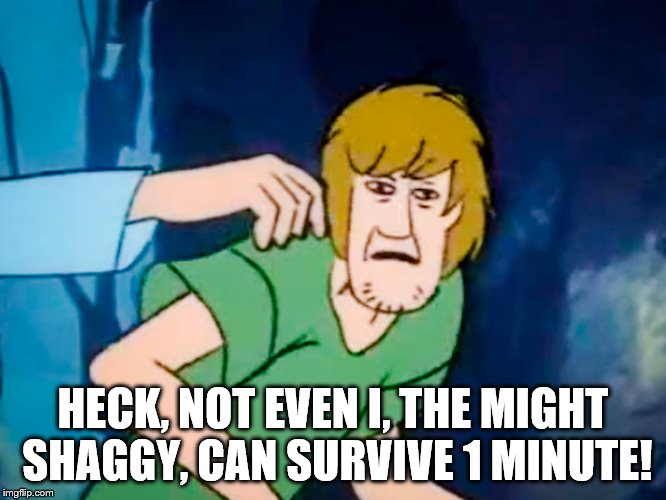 Shaggy meme | HECK, NOT EVEN I, THE MIGHT SHAGGY, CAN SURVIVE 1 MINUTE! | image tagged in shaggy meme | made w/ Imgflip meme maker