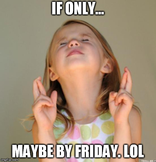 IF ONLY... MAYBE BY FRIDAY. LOL | image tagged in i wish | made w/ Imgflip meme maker