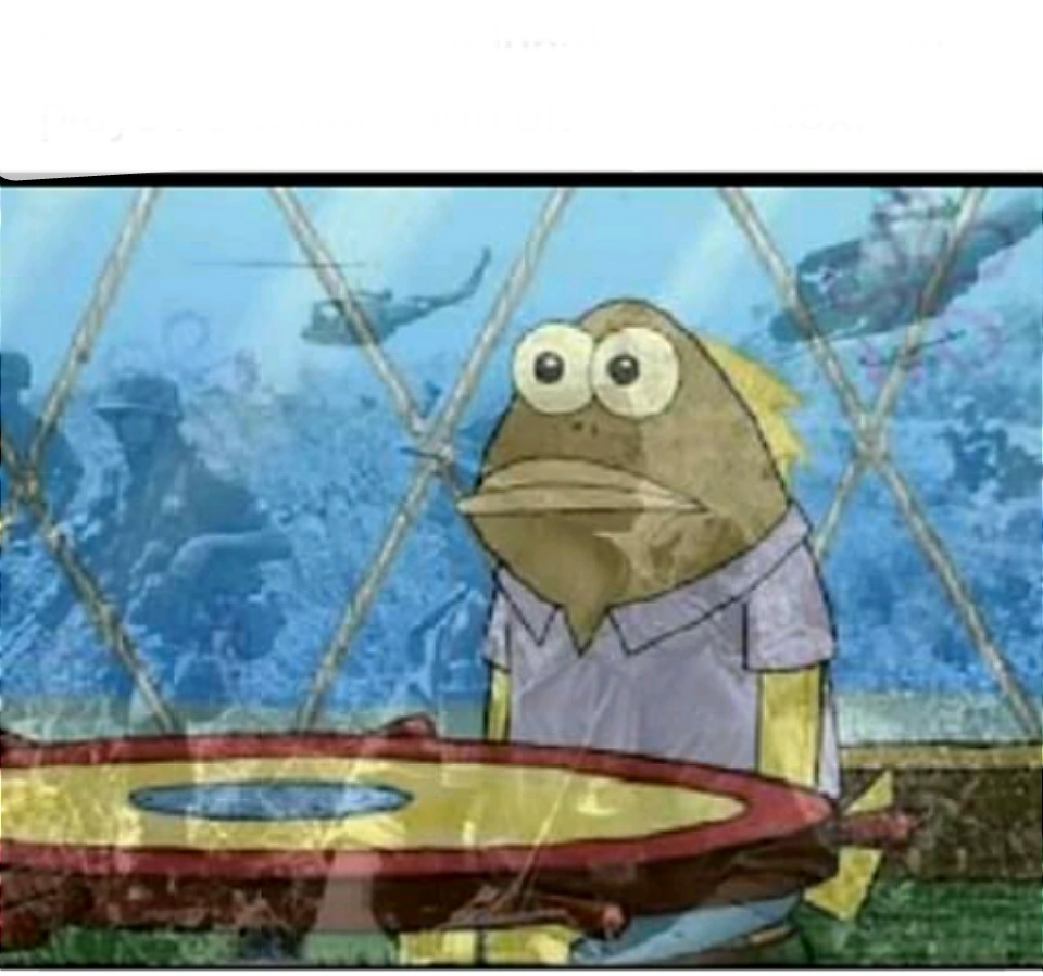 Spongebob fish vietnam flashback meme template