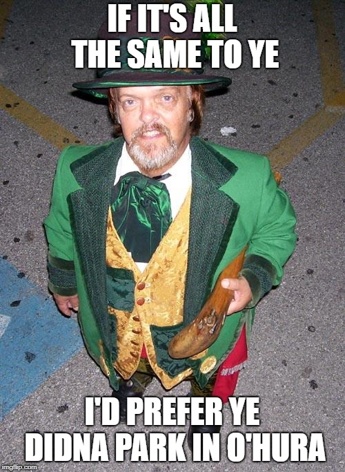 Irish Midget | IF IT'S ALL THE SAME TO YE I'D PREFER YE DIDNA PARK IN O'HURA | image tagged in irish midget | made w/ Imgflip meme maker