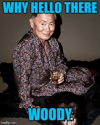 George Takei | WHY HELLO THERE WOODY | image tagged in george takei | made w/ Imgflip meme maker