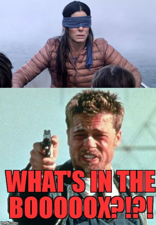 Brad Pitt Needs To Know! | image tagged in birdbox,seven | made w/ Imgflip meme maker