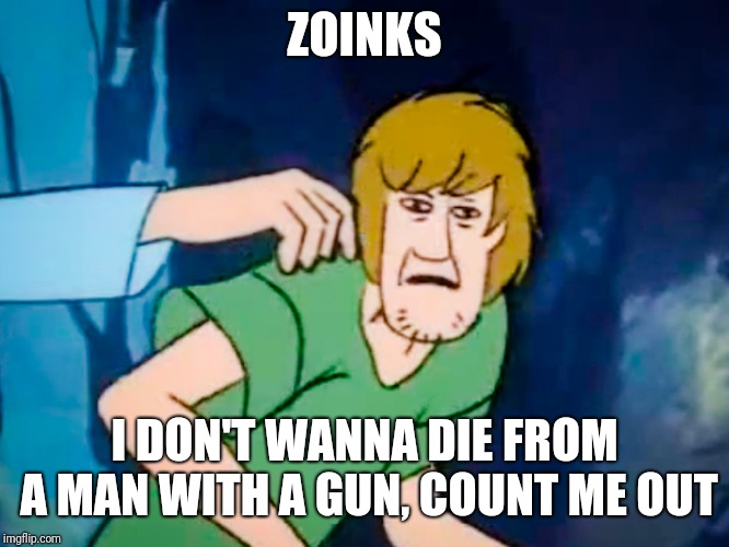 Shaggy meme | ZOINKS I DON'T WANNA DIE FROM A MAN WITH A GUN, COUNT ME OUT | image tagged in shaggy meme | made w/ Imgflip meme maker