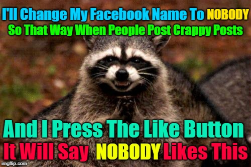 Just Imagine The Confusion I'll Be Causing...(>‿◠)✌ | And I Press The Like Button NOBODY NOBODY I'll Change My Facebook Name To So That Way When People Post Crappy Posts It Will Say             | image tagged in memes,evil plotting raccoon,facebook,let the evil flow,crappy posts,google images | made w/ Imgflip meme maker