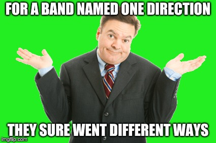 One Direction | FOR A BAND NAMED ONE DIRECTION THEY SURE WENT DIFFERENT WAYS | image tagged in one direction,begone thot,idk | made w/ Imgflip meme maker
