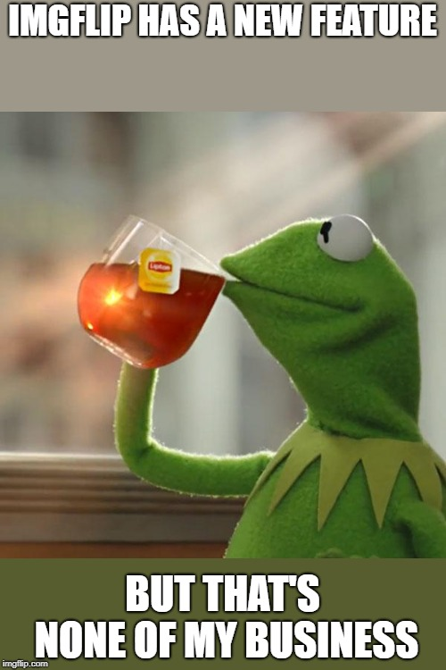 But Thats None Of My Business | IMGFLIP HAS A NEW FEATURE BUT THAT'S NONE OF MY BUSINESS | image tagged in memes,but thats none of my business,kermit the frog,new feature | made w/ Imgflip meme maker