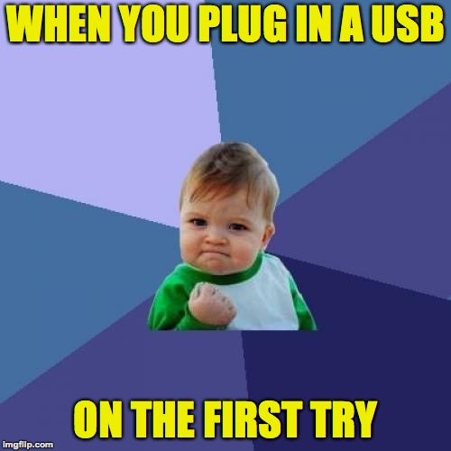 Now THAT'S success! |  WHEN YOU PLUG IN A USB; ON THE FIRST TRY | image tagged in memes,success kid,funny,usb,pull the plug 1,imgflip | made w/ Imgflip meme maker