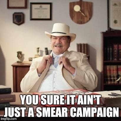 Small Town Pizza Lawyer | YOU SURE IT AIN'T JUST A SMEAR CAMPAIGN | image tagged in small town pizza lawyer | made w/ Imgflip meme maker